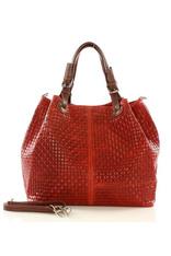 Czerwona Włoska Torebka Typu Shopper - Carina Treccia