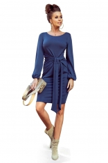 Jeansowa Wyjątkowa Sukienka z Wiązaniem w Pasie
