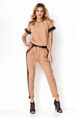 Dresowy Komplet Bluza + Spodnie z Tiulem i Eko-skórą - Cappuccino