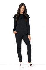 Czarny Komfortowy Komplet Bluza ze Spodniami