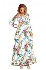 Sukienka Maxi w Kwiaty z Falbanką