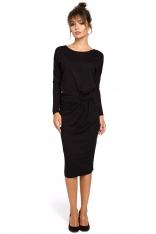 Czarna Sukienka z Drapowaniem na Boku