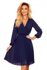 Kopertowa Sukienka z Plisowanym Dołem - Granatowa