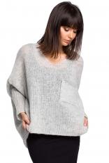 Popielaty Asymetryczny Oversizowy Sweter z Kieszonką