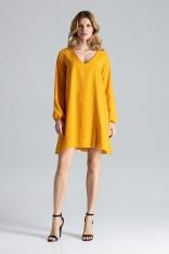Żółta Sukienka Trapezowa z Długim Rękawem