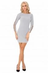 Szara Ołówkowa Mini Sukienka z Dekoracyjną Aplikacją na Rękawach