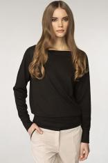 Prosty Czarny Sweter z Półokrągłym Dekoltem