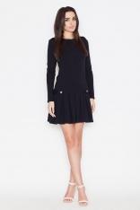 Czarna Casualowa Sukienka z Pagonami z Długim Rękawem