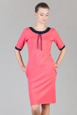 Koralowo-granatowa Prosta Dzianinowa Sukienka z Kontrastowymi Mankietami