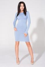Niebieska Sukienka Dopasowana Dzianinowa z Dekoltem na Plecach