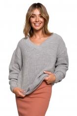 Klasyczny Sweter z Dekoltem w Szpic - Szary
