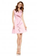 Różowa Imprezowa Sukienka z Falbanką