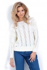 Ecru Sweter z Warkoczowym Splotem