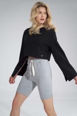 Krótka Bawełniana Bluza z Szerokim Rozciętym Rękawem - Czarna