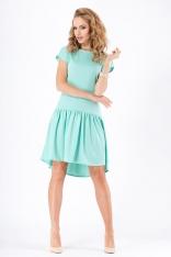 Miętowa Kobieca Sukienka z Asymetryczna Falbana na Dole