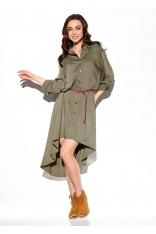 Asymetryczna Sukienka Koszulowa - Khaki