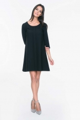 Czarna Sukienka z Ozdobną Plisą na Przodzie