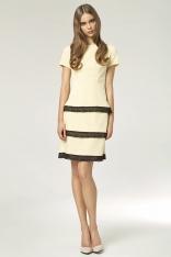 Żółta Elegancka Sukienka z Wypustkami z Czarnej Koronki