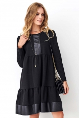 Rozszerzana Czarna Sukienka z Eko-skórą