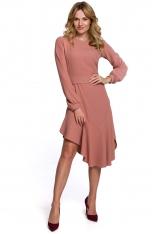 Rozkloszowana Sukienka z Asymetryczną Falbaną - Różana