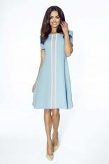 Niebieska Sukienka Wizytowa z Pionową Plisą na Przodzie