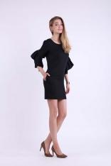 Czarna Krótka Ołówkowa Sukienka z Ozdobnymi Falbankami