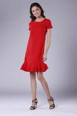 Czerwona Uniwersalna Midi Sukienka z Małą Falbanką