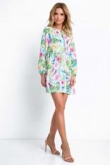 Krótka Zwiewna Sukienka w Tropikalne kwiaty