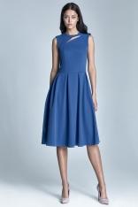 Niebieska Wizytowa Midi Sukienka bez Rękawów z Pęknięciem przy Dekolcie