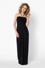 Czarna Długa Sukienka z Wiązaniem na Szyi