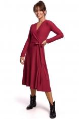 Sukienka Kopertowa z Długim Rękawem - Wiśniowa