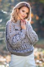 Beżowy Krótki Sweter z Dziurami