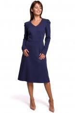 Sukienka z Trapezowym Dołem z Bufkami - Niebieska