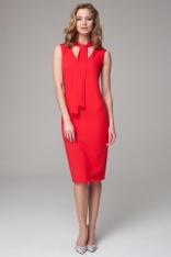Czerwona Dopasowana Midi Sukienka z Wiązanym Szalem