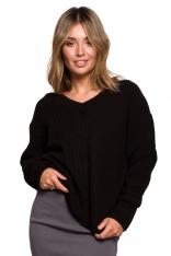 Klasyczny Sweter z Dekoltem w Szpic - Czarny