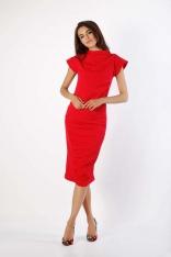 Czerwona Prosta Sukienka ze Stojącym Chanelowskim Kołnierzem