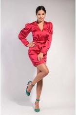 Ciemno Różowa Dopasowana Połyskująca Sukienka z Dekoltem V