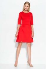 Czerwona Sukienka Rozkloszowana z Ozdobnymi Suwakami