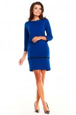 Niebieska Prosta Wizytowa Sukienka z Kołnierzykiem BeBe