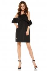 Czarna Wyjątkowa Trapezowa Sukienka z Falbanką z Odkrytymi Ramionami