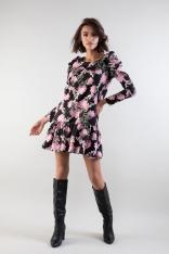 Klasyczna Dopasowana Sukienka z Ozdobnym Pasem w Kwiatowy Wzór