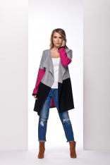 Dłuższy Trójbarwny Sweter z wolnymi Połami Jasnoszary / Fuksja / Czarny