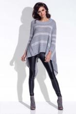 Szary Sweter Asymetryczny w Paski