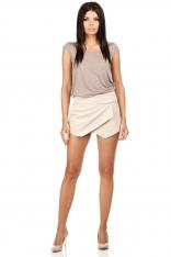 Krótkie Szorty Imitujące Spódnice - Beżowe