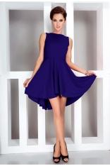Chabrowa Sukienka Elegancka Mocno Rozkloszowana z Wydłużonym Tyłem