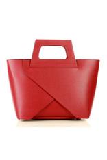 MARCO MAZZINI Oryginalna torebka do ręki shopper basket czerwień malinowa