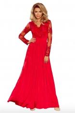 Czerwona Wieczorowa Sukienka Maxi z Koronkową Górą