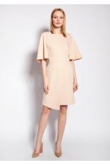 Dopasowana Sukienka z Nieregularnym Dołem - Beżowa