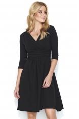Czarna Dresowa Sukienka z Dekoltem V