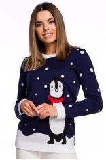 Świąteczny Sweterek z Pingwinem